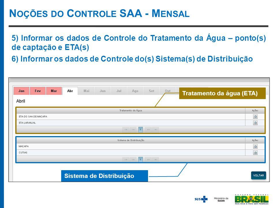 N OÇÕES DO C ONTROLE SAA - M ENSAL Tratamento da água (ETA) Sistema de Distribuição 5) Informar os dados de Controle do Tratamento da Água – ponto(s) de captação e ETA(s) 6) Informar os dados de Controle do(s) Sistema(s) de Distribuição