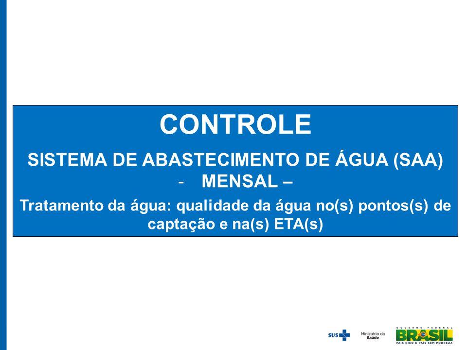CONTROLE SISTEMA DE ABASTECIMENTO DE ÁGUA (SAA) -MENSAL – Tratamento da água: qualidade da água no(s) pontos(s) de captação e na(s) ETA(s)
