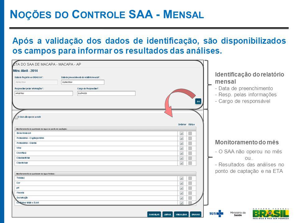 Identificação do relatório mensal - Data de preenchimento - Resp.