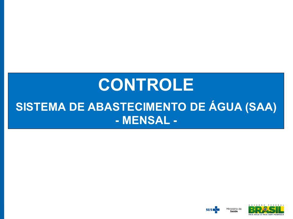 CONTROLE SISTEMA DE ABASTECIMENTO DE ÁGUA (SAA) - MENSAL -