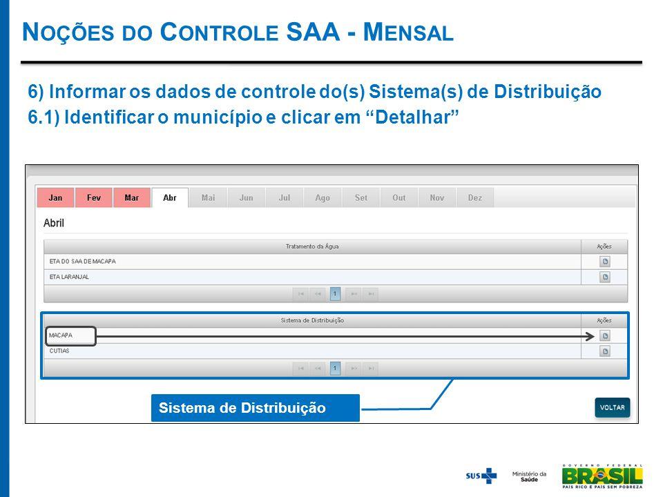 N OÇÕES DO C ONTROLE SAA - M ENSAL Sistema de Distribuição 6) Informar os dados de controle do(s) Sistema(s) de Distribuição 6.1) Identificar o município e clicar em Detalhar