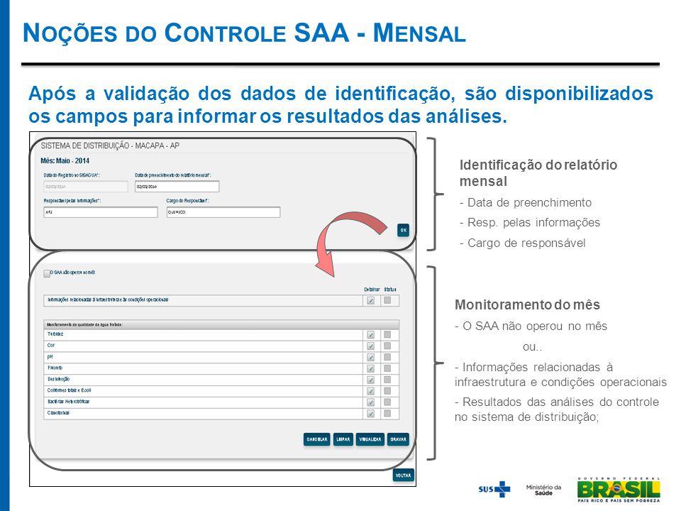 N OÇÕES DO C ONTROLE SAA - M ENSAL Após a validação dos dados de identificação, são disponibilizados os campos para informar os resultados das análises.