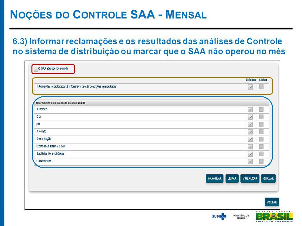 N OÇÕES DO C ONTROLE SAA - M ENSAL 6.3) Informar reclamações e os resultados das análises de Controle no sistema de distribuição ou marcar que o SAA não operou no mês