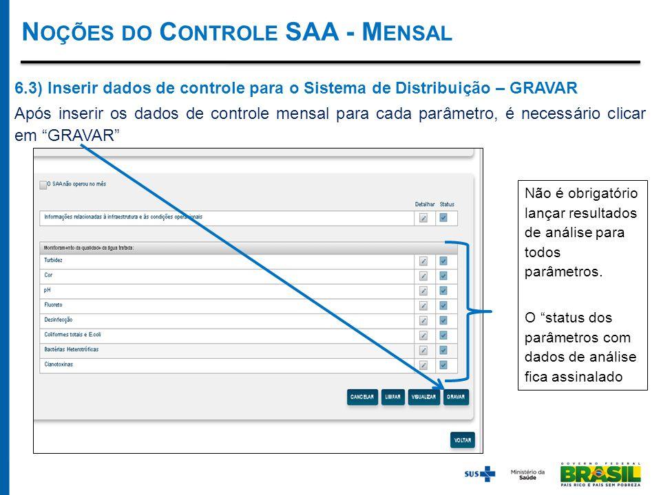 6.3) Inserir dados de controle para o Sistema de Distribuição – GRAVAR Após inserir os dados de controle mensal para cada parâmetro, é necessário clicar em GRAVAR Não é obrigatório lançar resultados de análise para todos parâmetros.