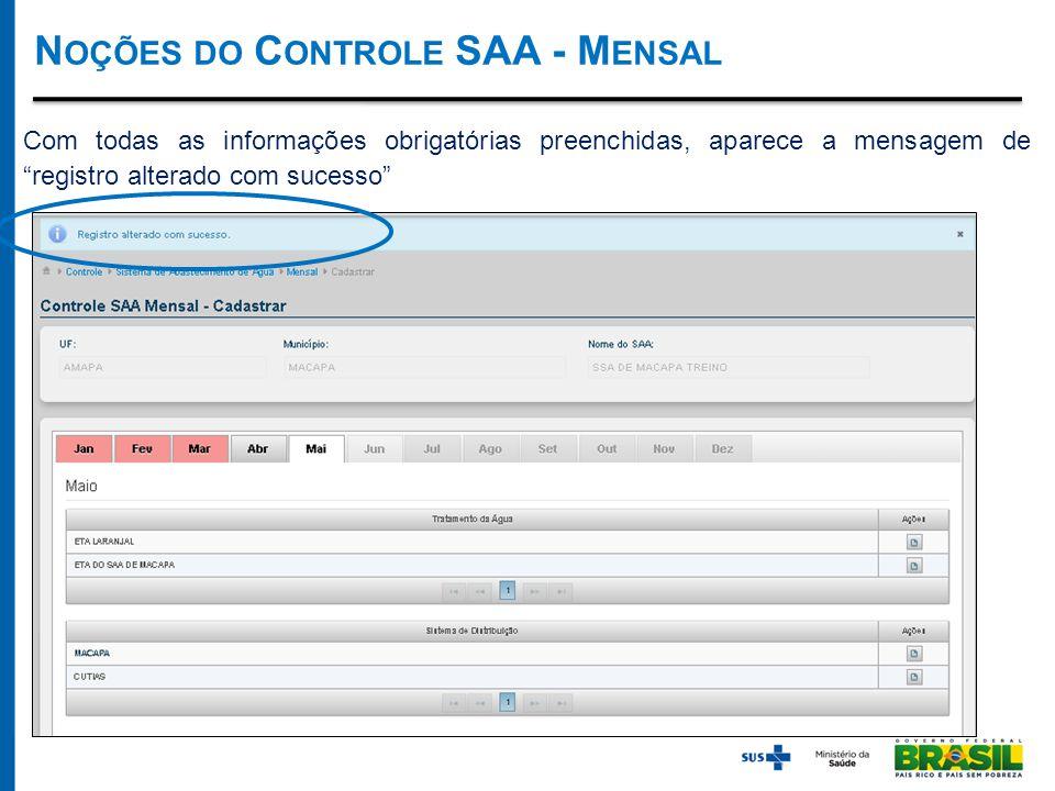 Com todas as informações obrigatórias preenchidas, aparece a mensagem de registro alterado com sucesso N OÇÕES DO C ONTROLE SAA - M ENSAL
