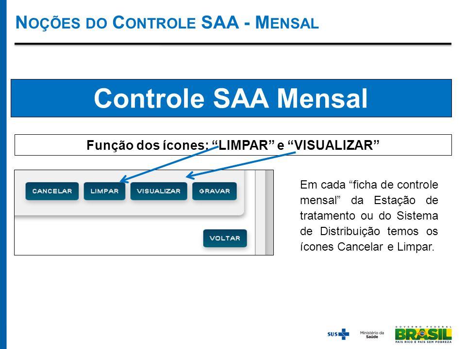 Controle SAA Mensal Função dos ícones: LIMPAR e VISUALIZAR Em cada ficha de controle mensal da Estação de tratamento ou do Sistema de Distribuição temos os ícones Cancelar e Limpar.