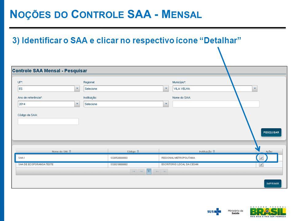 N OÇÕES DO C ONTROLE SAA - M ENSAL 3) Identificar o SAA e clicar no respectivo ícone Detalhar