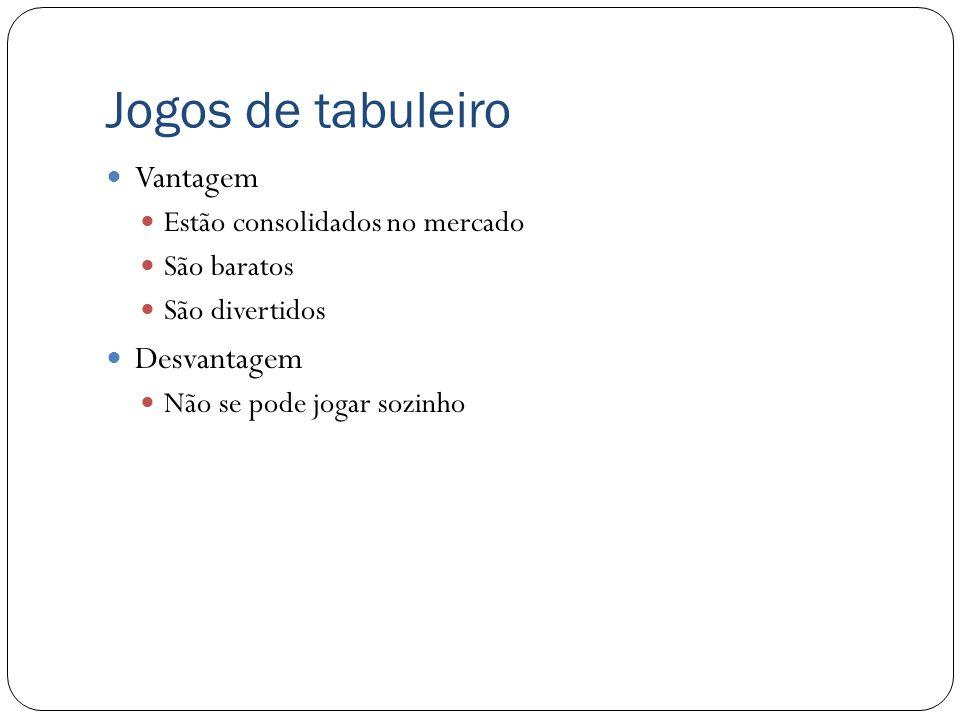 Jogos de tabuleiro Jogos clássicos de tabuleiros também podem ser considerados competidores do nosso projeto.