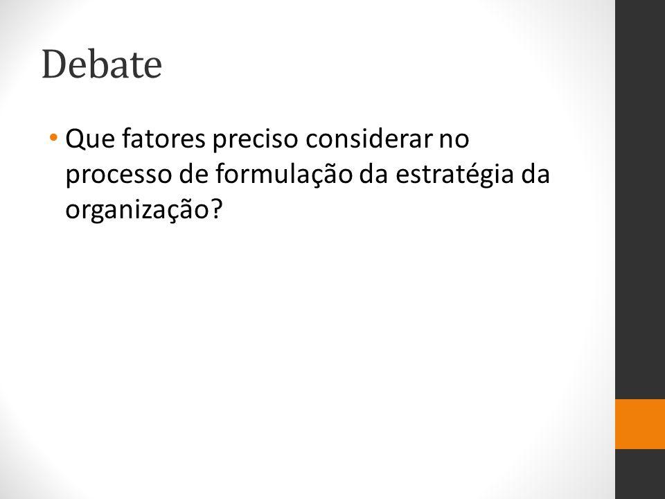 Debate Que fatores preciso considerar no processo de formulação da estratégia da organização?