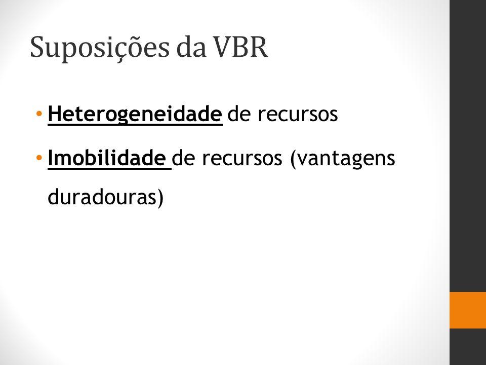 Suposições da VBR Heterogeneidade de recursos Imobilidade de recursos (vantagens duradouras)