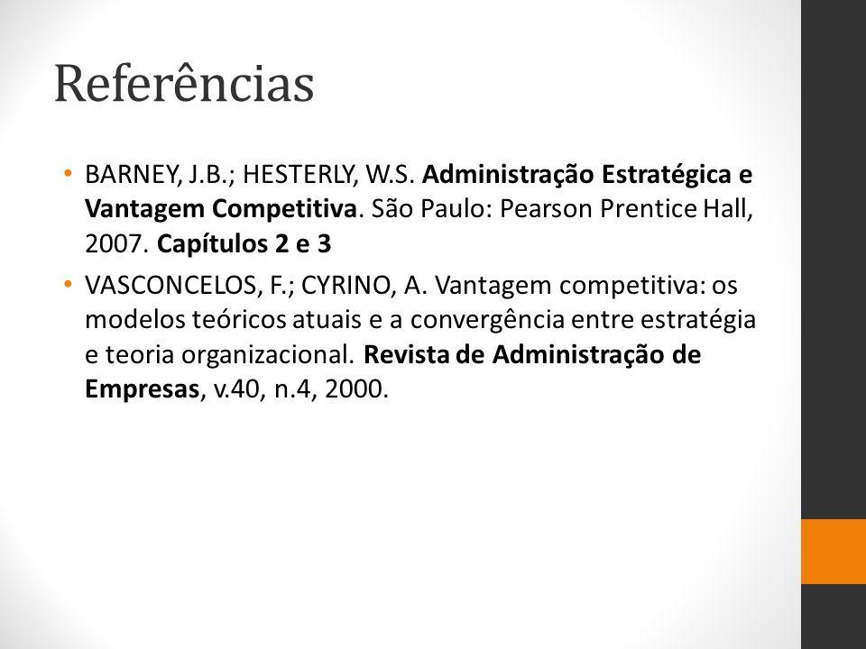 Referências BARNEY, J.B.; HESTERLY, W.S. Administração Estratégica e Vantagem Competitiva. São Paulo: Pearson Prentice Hall, 2007. Capítulos 2 e 3 VAS