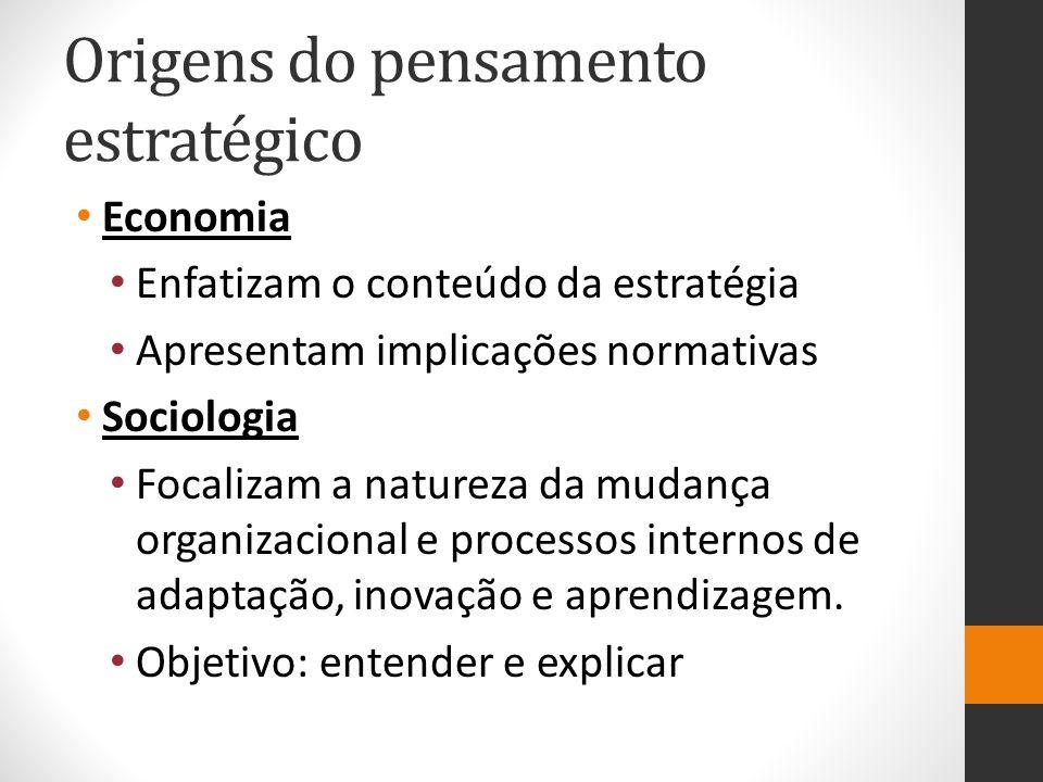 Origens do pensamento estratégico Economia Enfatizam o conteúdo da estratégia Apresentam implicações normativas Sociologia Focalizam a natureza da mudança organizacional e processos internos de adaptação, inovação e aprendizagem.