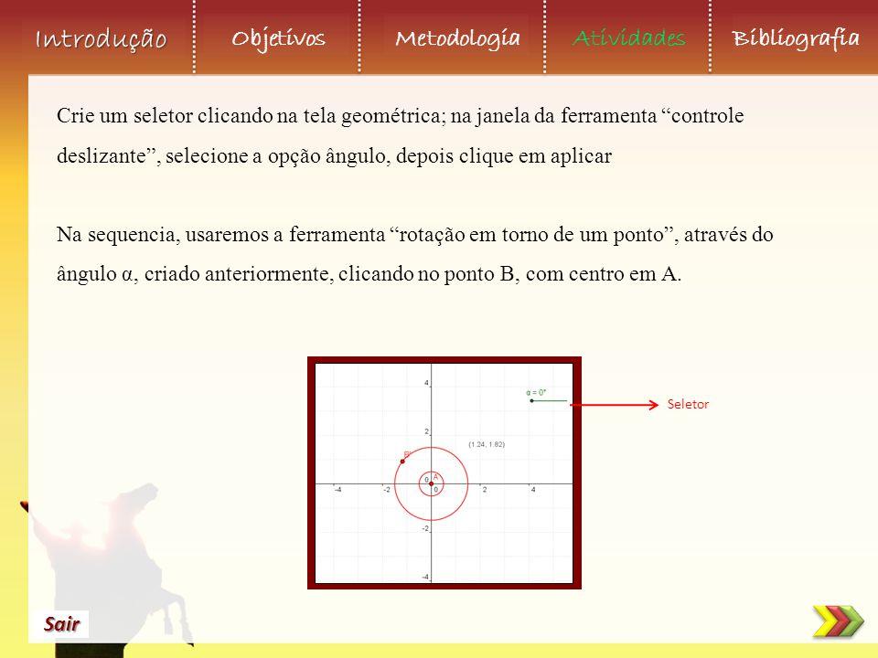 Objetivos Metodologia AtividadesBibliografia Sair Introdução Crie um seletor clicando na tela geométrica; na janela da ferramenta controle deslizante , selecione a opção ângulo, depois clique em aplicar Na sequencia, usaremos a ferramenta rotação em torno de um ponto , através do ângulo α, criado anteriormente, clicando no ponto B, com centro em A.