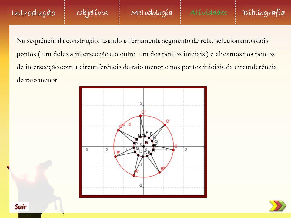 Objetivos Metodologia AtividadesBibliografia Sair Introdução Na sequência da construção, usando a ferramenta segmento de reta, selecionamos dois ponto