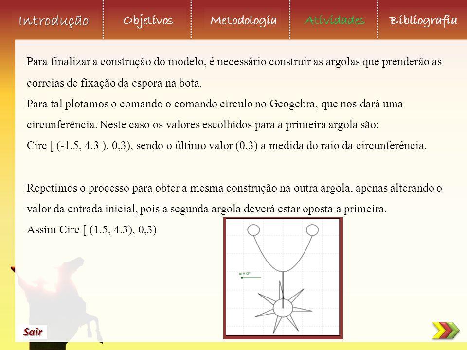 Objetivos Metodologia AtividadesBibliografia Sair Introdução Para finalizar a construção do modelo, é necessário construir as argolas que prenderão as