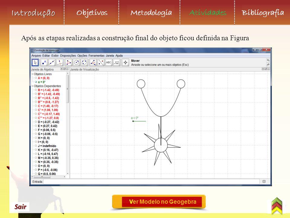 Objetivos Metodologia AtividadesBibliografia Sair Introdução Após as etapas realizadas a construção final do objeto ficou definida na Figura Ver Modelo no Geogebra