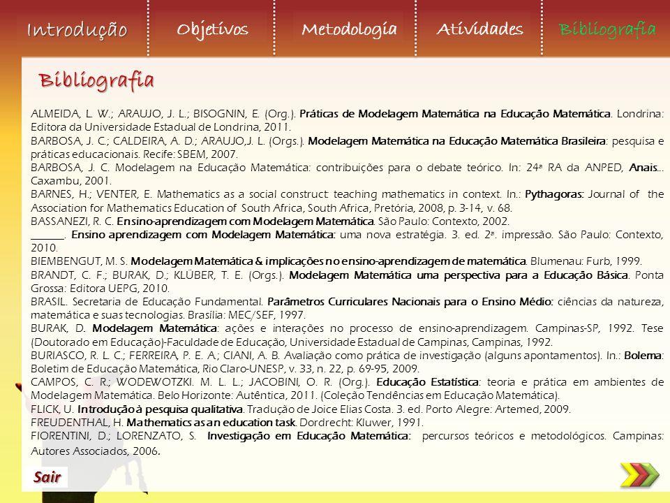 Objetivos Metodologia AtividadesBibliografia Sair Introdução ALMEIDA, L. W.; ARAUJO, J. L.; BISOGNIN, E. (Org.). Práticas de Modelagem Matemática na E