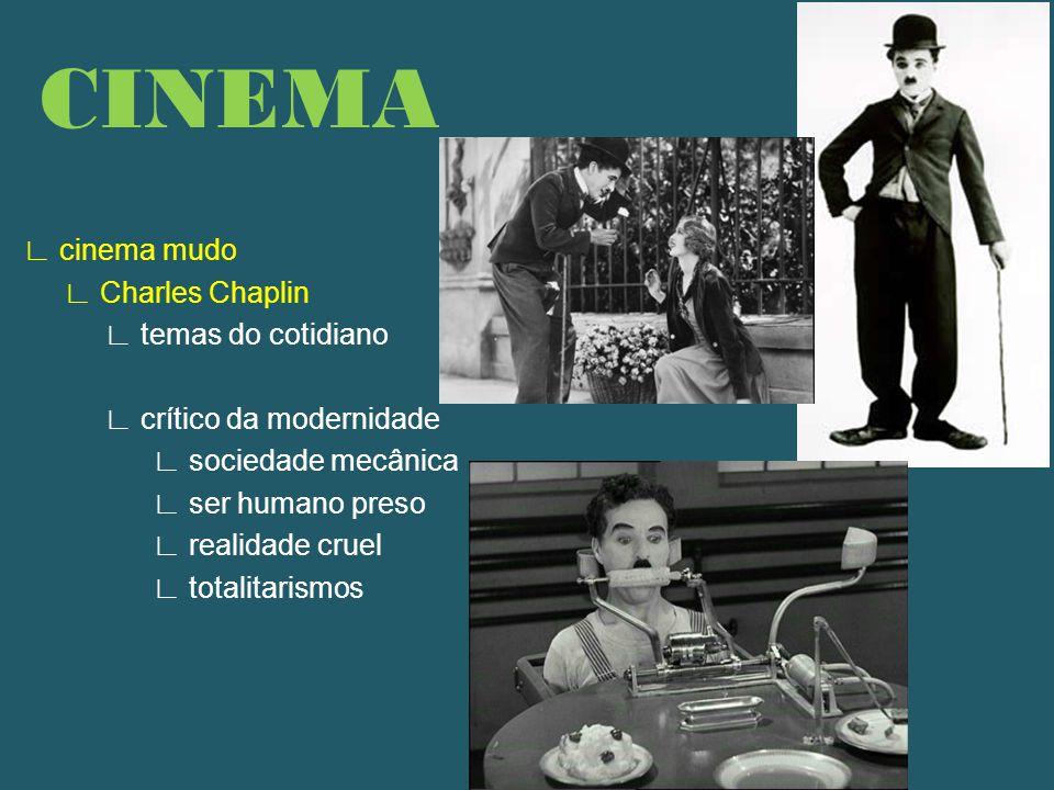 ∟ cinema mudo ∟ Charles Chaplin ∟ temas do cotidiano ∟ crítico da modernidade ∟ sociedade mecânica ∟ ser humano preso ∟ realidade cruel ∟ totalitarismos CINEMA
