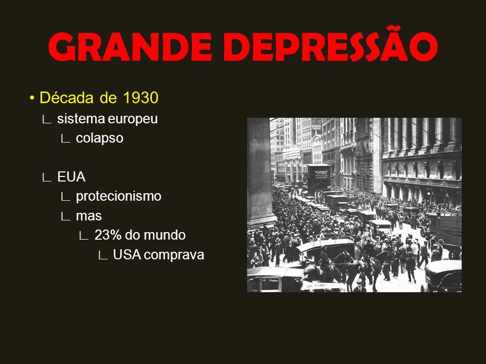 GRANDE DEPRESSÃO Década de 1930 ∟ sistema europeu ∟ colapso ∟ EUA ∟ protecionismo ∟ mas ∟ 23% do mundo ∟ USA comprava