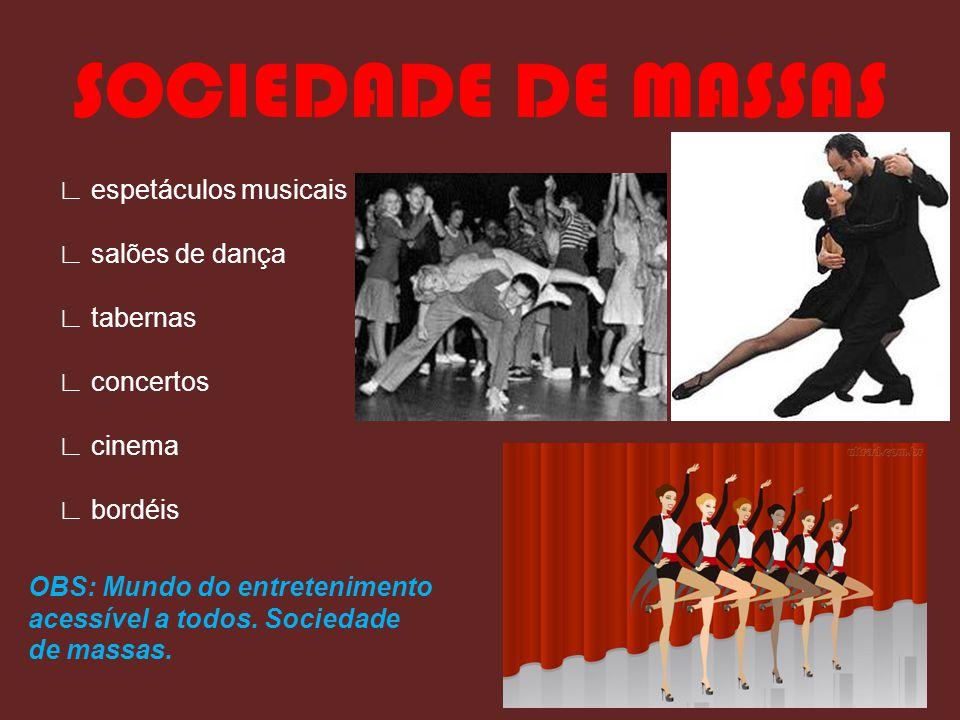 ∟ espetáculos musicais ∟ salões de dança ∟ tabernas ∟ concertos ∟ cinema ∟ bordéis OBS: Mundo do entretenimento acessível a todos.