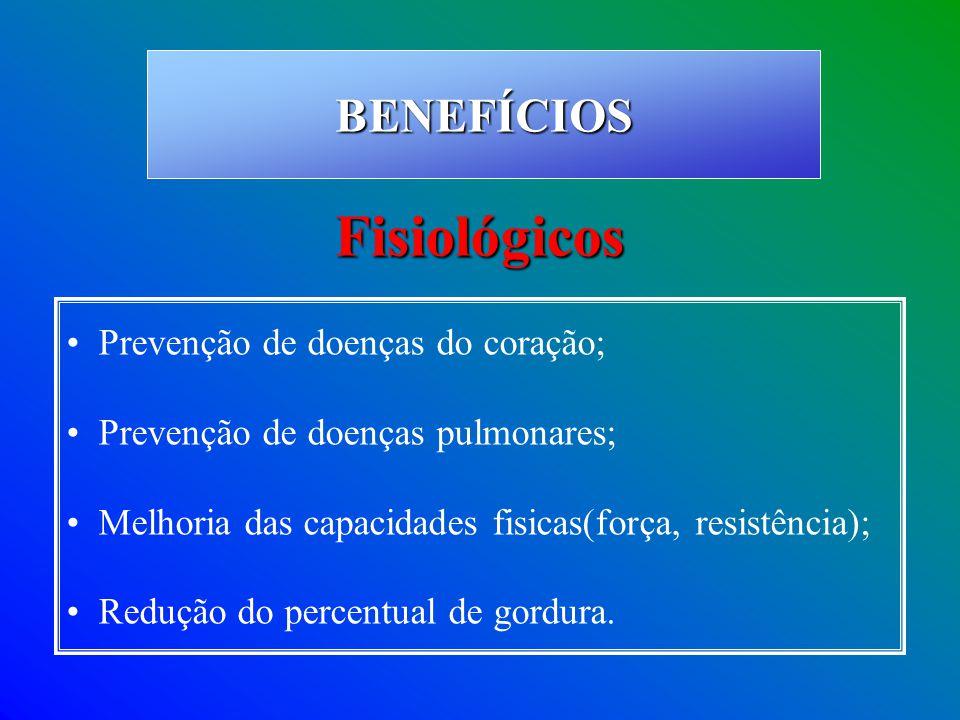 Prevenção de doenças do coração; Prevenção de doenças pulmonares; Melhoria das capacidades fisicas(força, resistência); Redução do percentual de gordu