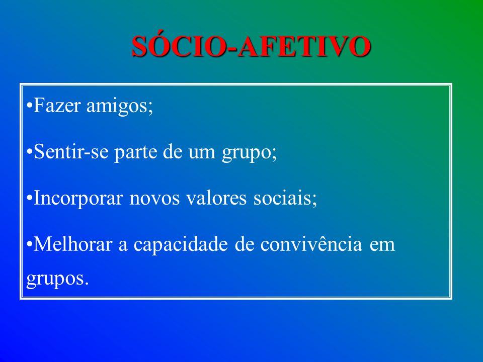 Fazer amigos; Sentir-se parte de um grupo; Incorporar novos valores sociais; Melhorar a capacidade de convivência em grupos. SÓCIO-AFETIVO