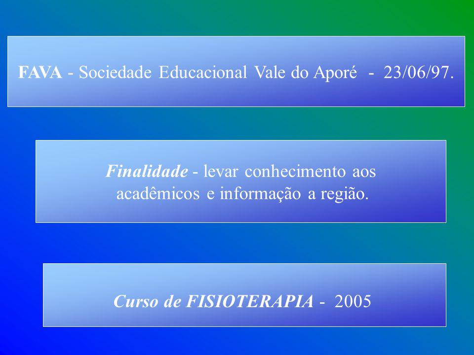 Curso de FISIOTERAPIA - 2005 Finalidade - levar conhecimento aos acadêmicos e informação a região. FAVA - Sociedade Educacional Vale do Aporé - 23/06/