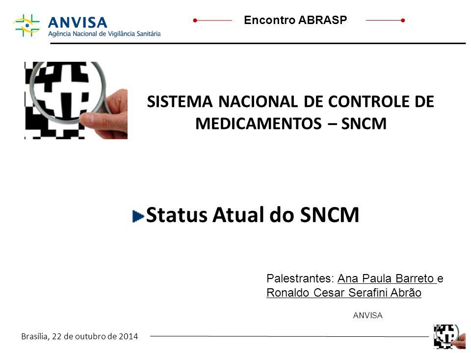 Brasília, 22 de outubro de 2014 Encontro ABRASP SISTEMA NACIONAL DE CONTROLE DE MEDICAMENTOS – SNCM Status Atual do SNCM Palestrantes: Ana Paula Barre