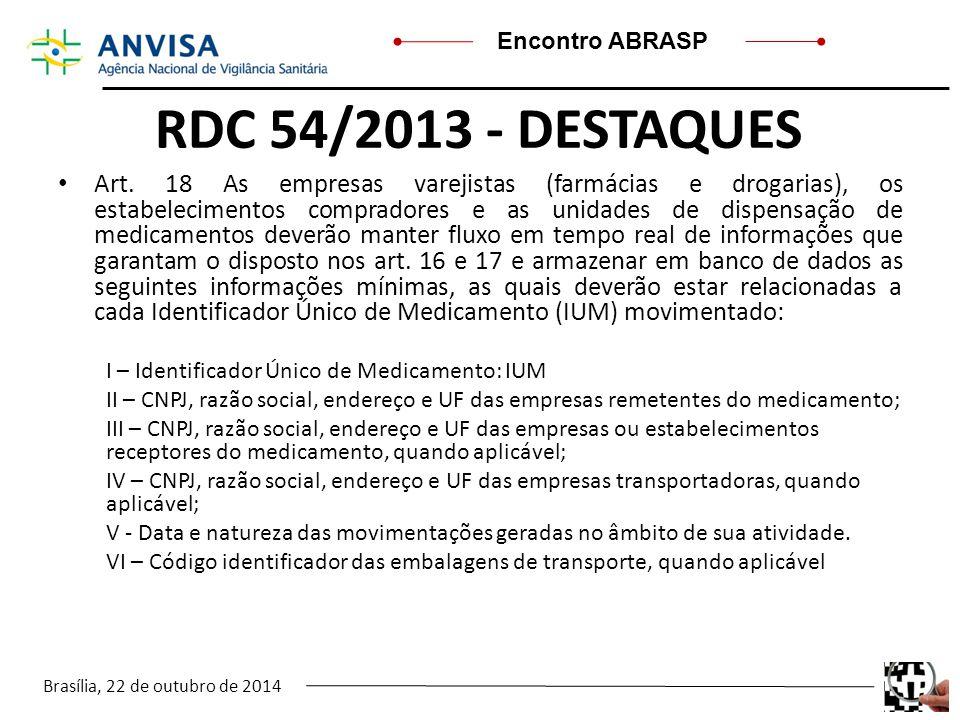 Brasília, 22 de outubro de 2014 Encontro ABRASP RDC 54/2013 - DESTAQUES Art. 18 As empresas varejistas (farmácias e drogarias), os estabelecimentos co