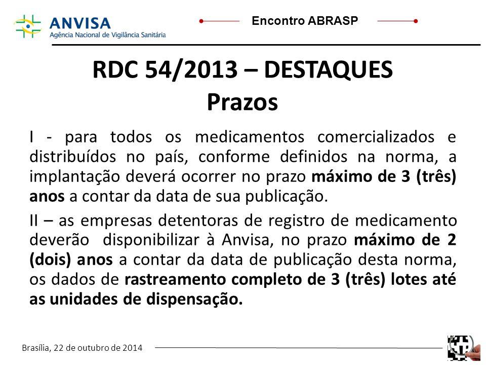 Brasília, 22 de outubro de 2014 Encontro ABRASP RDC 54/2013 – DESTAQUES Prazos I - para todos os medicamentos comercializados e distribuídos no país,
