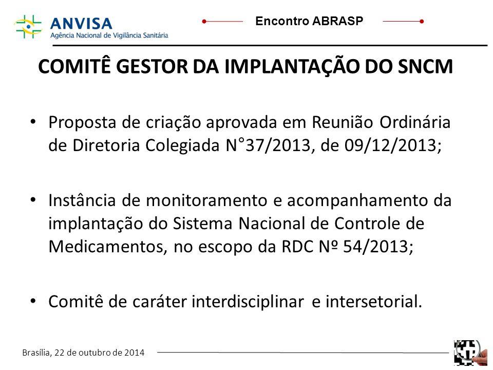 Brasília, 22 de outubro de 2014 Encontro ABRASP COMITÊ GESTOR DA IMPLANTAÇÃO DO SNCM Proposta de criação aprovada em Reunião Ordinária de Diretoria Co