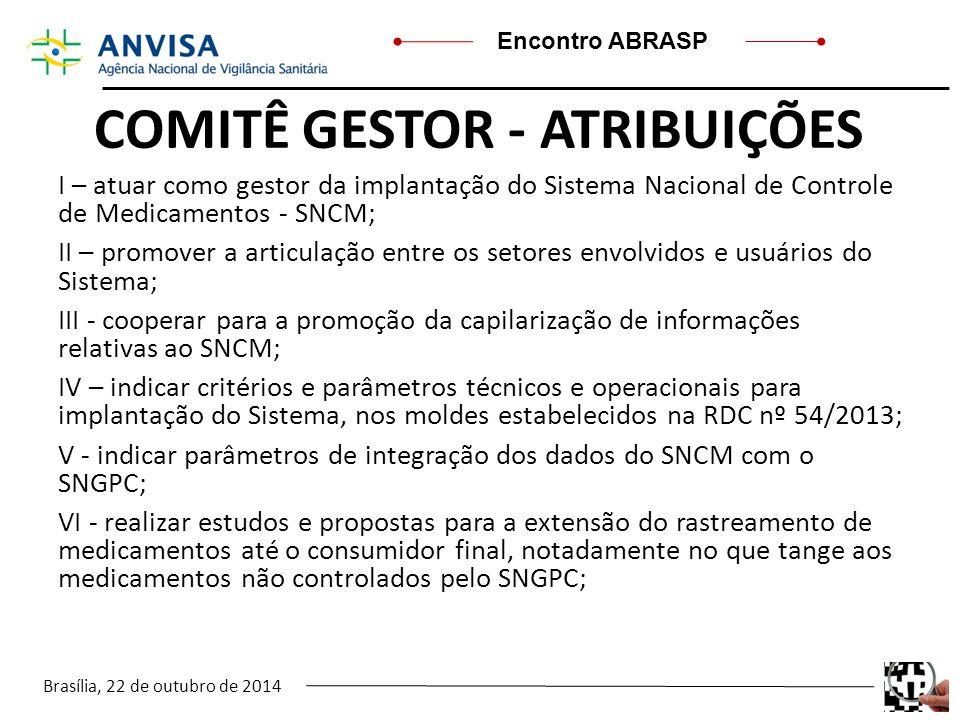 Brasília, 22 de outubro de 2014 Encontro ABRASP COMITÊ GESTOR - ATRIBUIÇÕES I – atuar como gestor da implantação do Sistema Nacional de Controle de Me