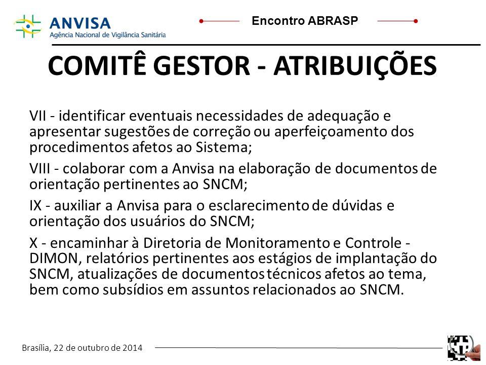 Brasília, 22 de outubro de 2014 Encontro ABRASP COMITÊ GESTOR - ATRIBUIÇÕES VII - identificar eventuais necessidades de adequação e apresentar sugestõ