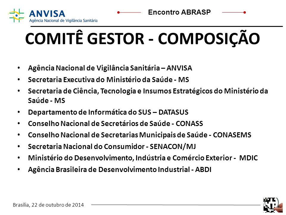 Brasília, 22 de outubro de 2014 Encontro ABRASP COMITÊ GESTOR - COMPOSIÇÃO Agência Nacional de Vigilância Sanitária – ANVISA Secretaria Executiva do M