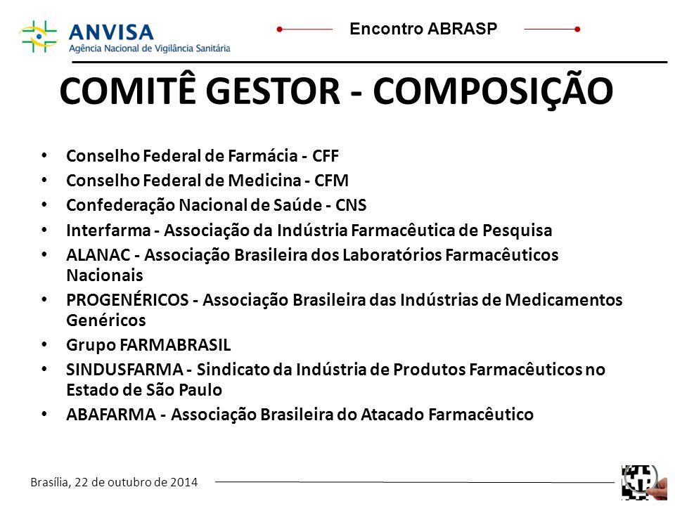 Brasília, 22 de outubro de 2014 Encontro ABRASP COMITÊ GESTOR - COMPOSIÇÃO Conselho Federal de Farmácia - CFF Conselho Federal de Medicina - CFM Confe