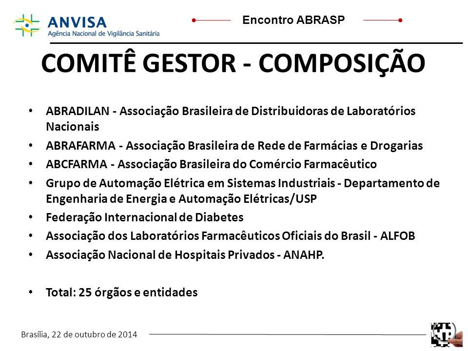 Brasília, 22 de outubro de 2014 Encontro ABRASP COMITÊ GESTOR - COMPOSIÇÃO ABRADILAN - Associação Brasileira de Distribuidoras de Laboratórios Naciona