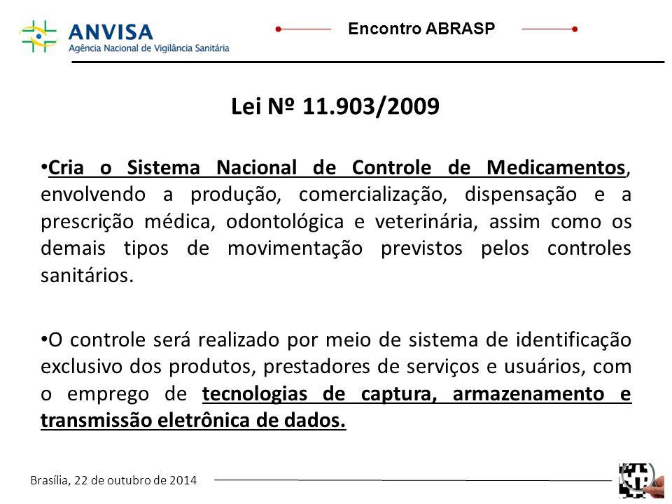 Brasília, 22 de outubro de 2014 Encontro ABRASP Lei Nº 11.903/2009 Cria o Sistema Nacional de Controle de Medicamentos, envolvendo a produção, comerci