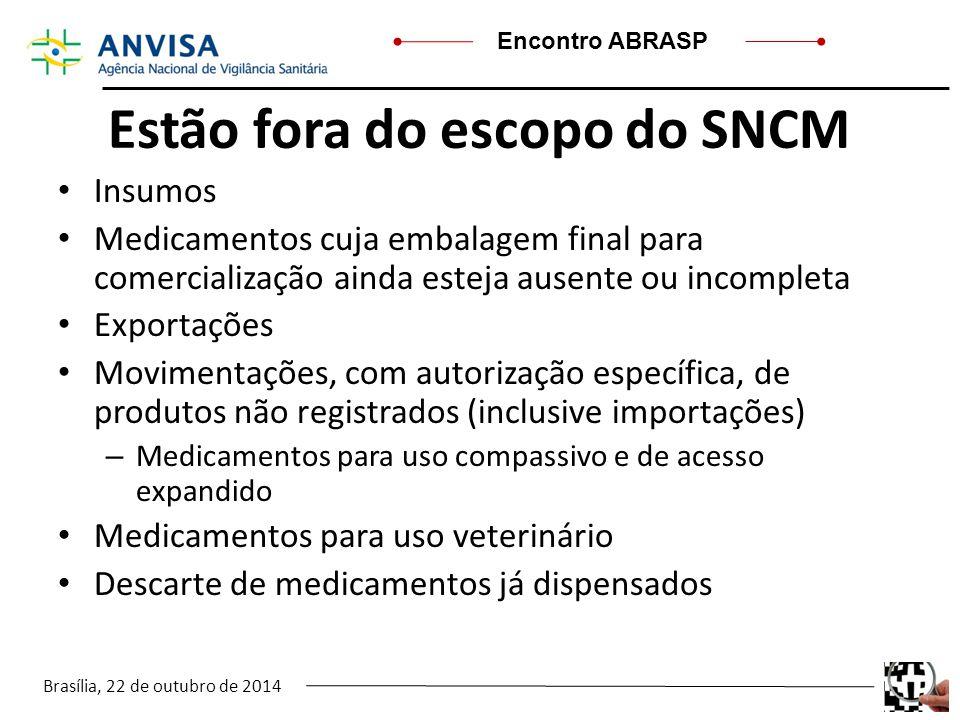 Brasília, 22 de outubro de 2014 Encontro ABRASP Estão fora do escopo do SNCM Insumos Medicamentos cuja embalagem final para comercialização ainda este