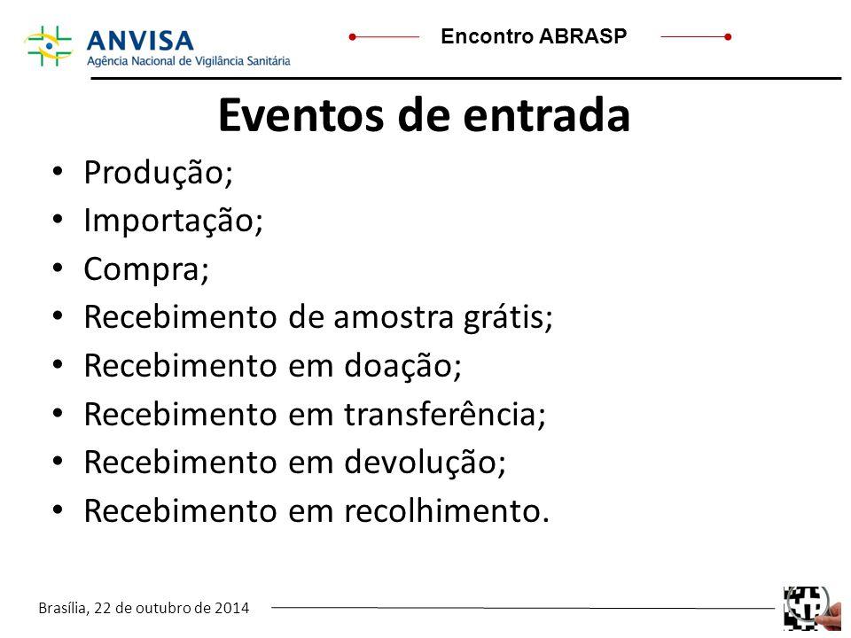 Brasília, 22 de outubro de 2014 Encontro ABRASP Eventos de entrada Produção; Importação; Compra; Recebimento de amostra grátis; Recebimento em doação;