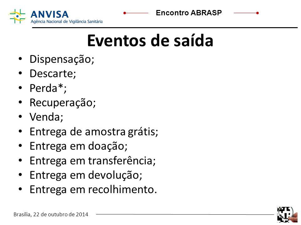 Brasília, 22 de outubro de 2014 Encontro ABRASP Eventos de saída Dispensação; Descarte; Perda*; Recuperação; Venda; Entrega de amostra grátis; Entrega