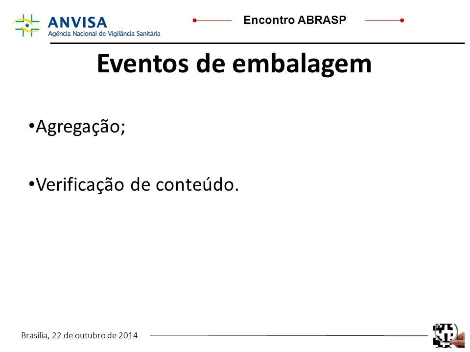 Brasília, 22 de outubro de 2014 Encontro ABRASP Eventos de embalagem Agregação; Verificação de conteúdo..