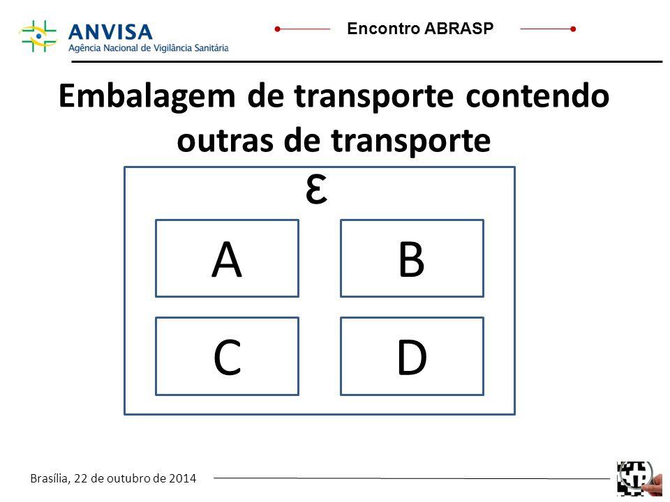 Brasília, 22 de outubro de 2014 Encontro ABRASP Embalagem de transporte contendo outras de transporte AB CD ε