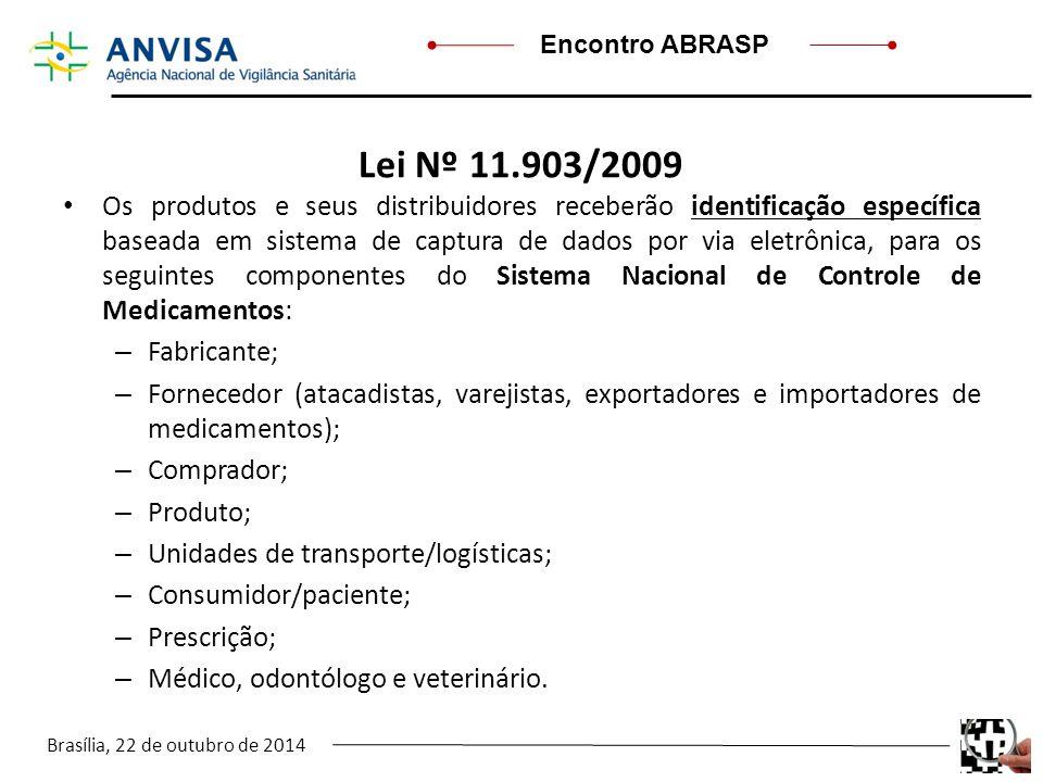 Brasília, 22 de outubro de 2014 Encontro ABRASP Lei Nº 11.903/2009 Os produtos e seus distribuidores receberão identificação específica baseada em sis