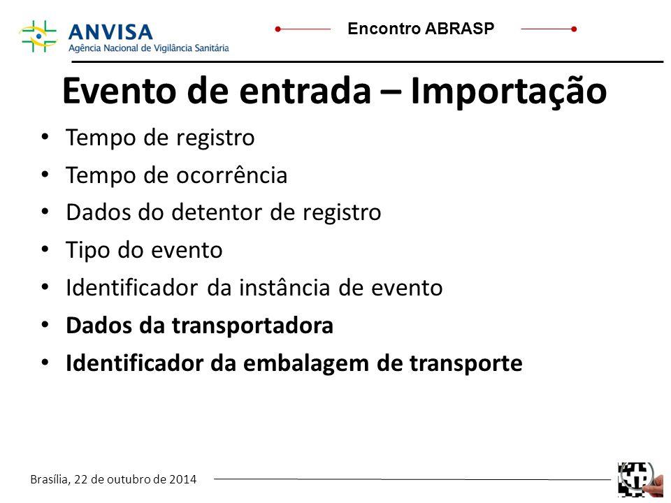 Brasília, 22 de outubro de 2014 Encontro ABRASP Evento de entrada – Importação Tempo de registro Tempo de ocorrência Dados do detentor de registro Tip