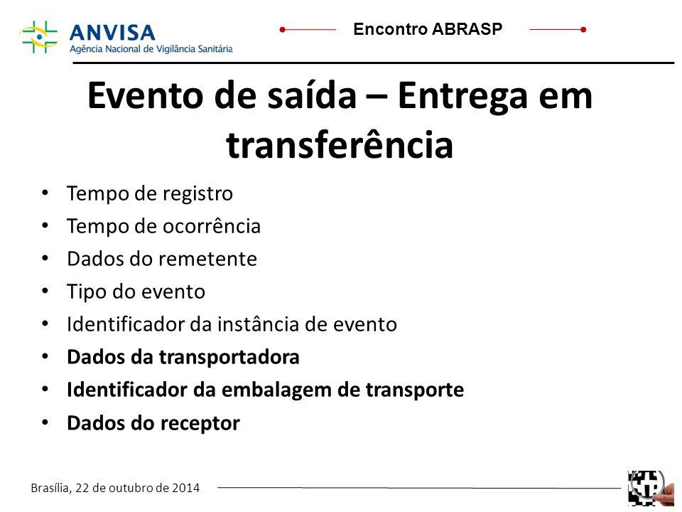 Brasília, 22 de outubro de 2014 Encontro ABRASP Evento de saída – Entrega em transferência Tempo de registro Tempo de ocorrência Dados do remetente Ti