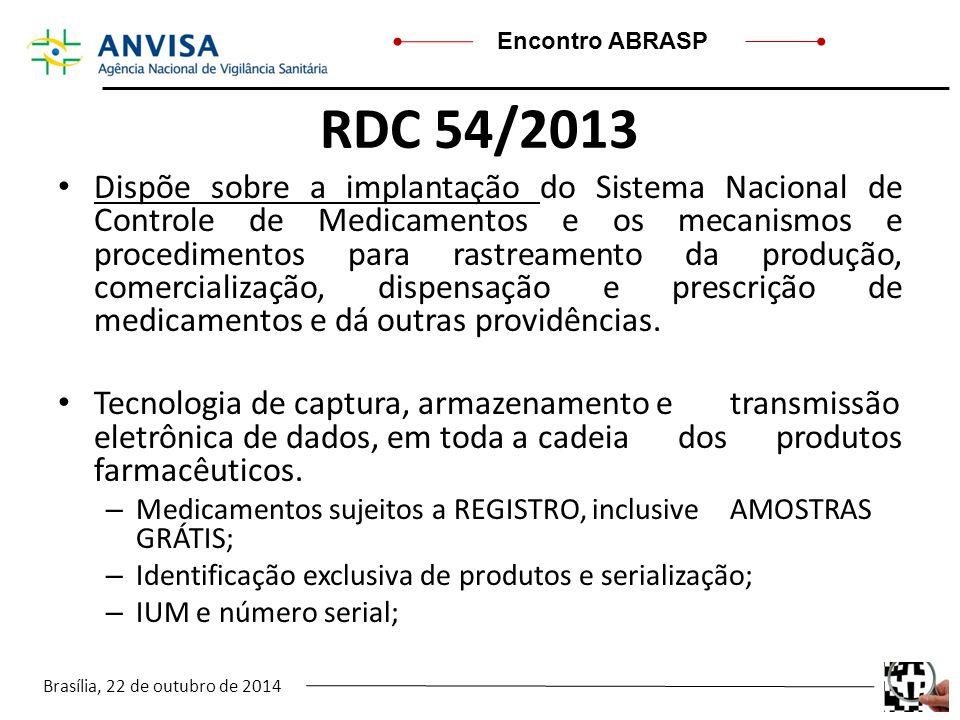 Brasília, 22 de outubro de 2014 Encontro ABRASP RDC 54/2013 Dispõe sobre a implantação do Sistema Nacional de Controle de Medicamentos e os mecanismos