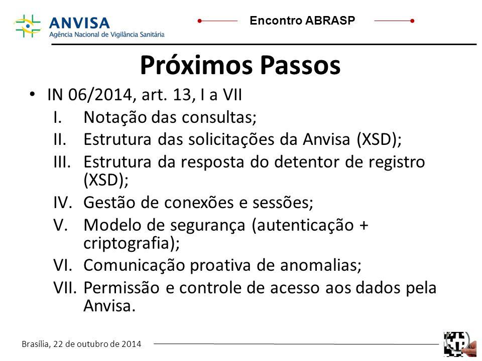 Brasília, 22 de outubro de 2014 Encontro ABRASP Próximos Passos IN 06/2014, art. 13, I a VII I.Notação das consultas; II.Estrutura das solicitações da