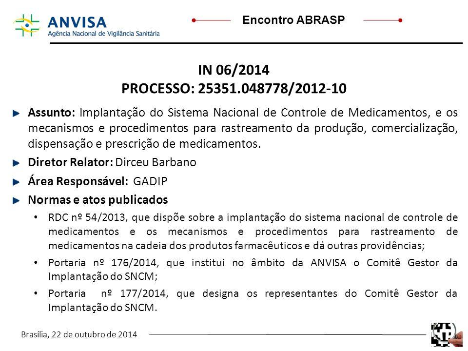 Brasília, 22 de outubro de 2014 Encontro ABRASP IN 06/2014 PROCESSO: 25351.048778/2012-10 Assunto: Implantação do Sistema Nacional de Controle de Medi
