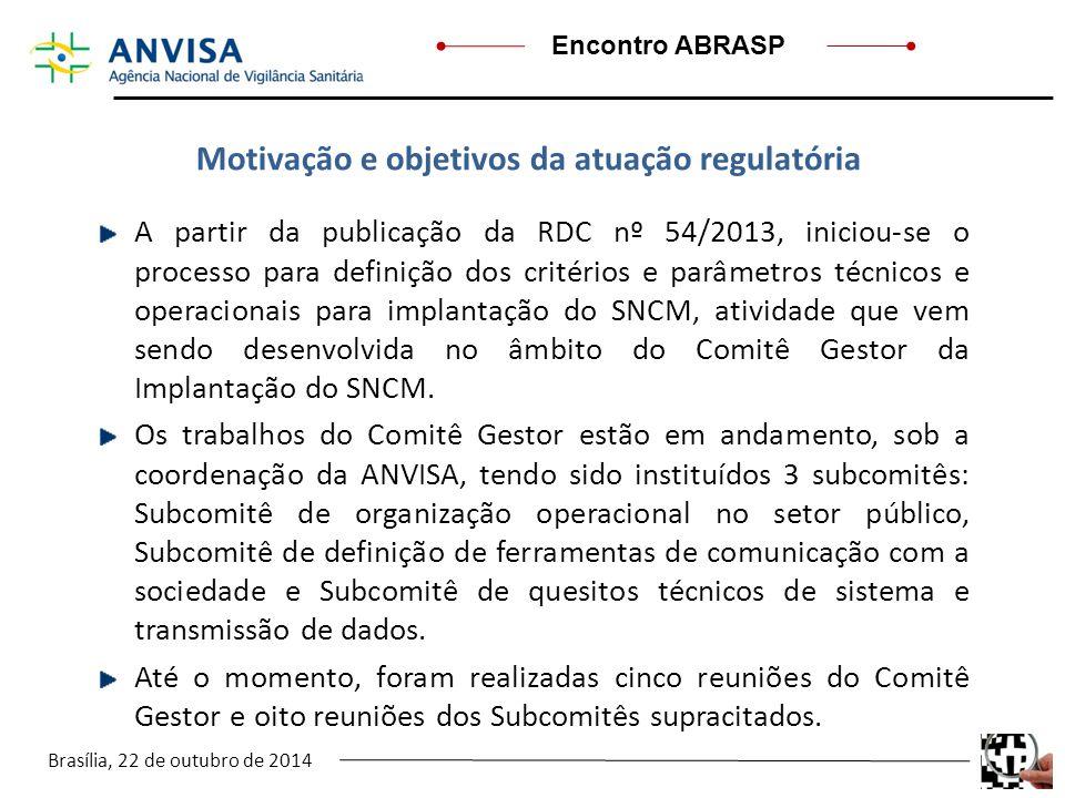 Brasília, 22 de outubro de 2014 Encontro ABRASP A partir da publicação da RDC nº 54/2013, iniciou-se o processo para definição dos critérios e parâmet