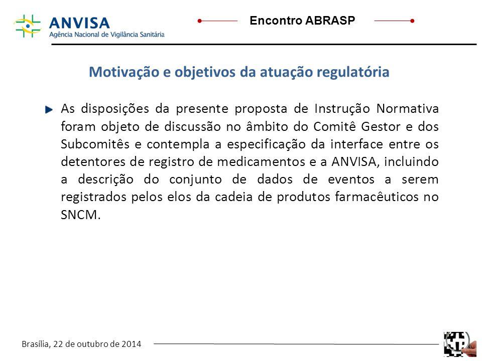 Brasília, 22 de outubro de 2014 Encontro ABRASP As disposições da presente proposta de Instrução Normativa foram objeto de discussão no âmbito do Comi